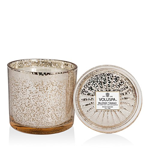 Voluspa Blond Tabac Candle | Grande Maison 3 Wick Glass | 36 Oz. | Coconut Wax and Natural Wicks for a Cleaner Burn