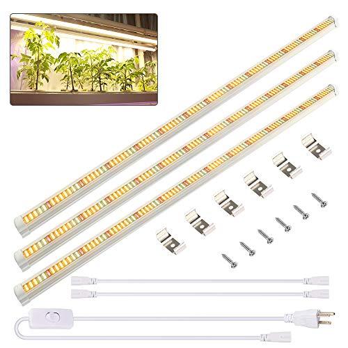 Derlights LED Pflanzenlampe 60W 120cm Pflanzenlicht【3 Stück】 Pflanzenleuchte 3500K Vollspektrum Grow Lampe Wachstumslampe für Pflanzen Zimmerpflanzen Gartenarbeit