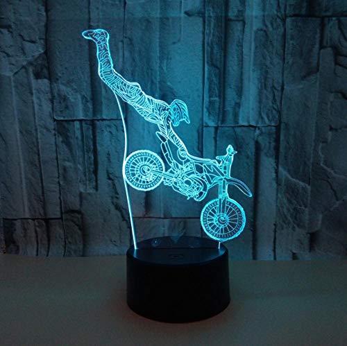 Lámpara de ilusión 3D con botón táctil de la motocicleta de 7 colores cambiantes LED ilusión luz nocturna ilusión lámpara de mesa que se puede utilizar como regalo de vacaciones noche luz de ánimo