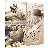 ? decoración de la mesa onque pared de arena - 60 x 60 cm Vista de impresión en lienzo Salón Apartamento - listo para colgar - 504244a