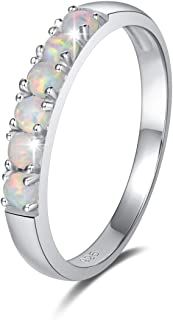 Created Opal Rings Sterling Silver 6 stones Fire Opal Engagement Wedding Eternity Ring Fine Jewelry for Women Girls Size 5,6,7,8