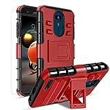 Donse Compatible with Aristo 3 Phone Case/Aristo 2/Aristo 2 Plus/Tribute Empire/Tribute Dynasty/Rebel 4 LTE/Rebel 3 LTE/Risio 3/K8+/,Kickstand Heavy Duty TPU+PC Dual Layer Cover Shell PC(Red)