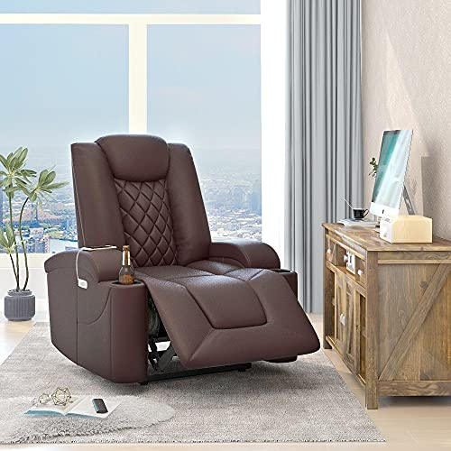 Power Electric Recliner Chair with USB Charge Port and Cup Holder - Home Theater Seating Recliner Sofa Overstuffed Electric PU Recliner Chair Bedroom & Living Room Chair