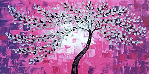 WIOIW Abstracto 3D Colorido árbol de la Suerte Hojas de Flores Puesta de Sol Banco Paisaje Lienzo Pintura escandinavo Pared Arte Cartel Imagen Sala de Estar Dormitorio Oficina decoración del hogar