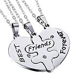 Cupimatch Collar Best Friends para 3 Amistad Amigas Corazón Colgante Rompecabezas Acero Inoxidable Best Friends Joyería de Moda Hombre Mujer