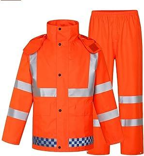 BGROESTWB Snow Rainwear Unisex Double Orange Reflective Raincoat Suit Waterproof Reflective High Visibility Raincoat Multi...