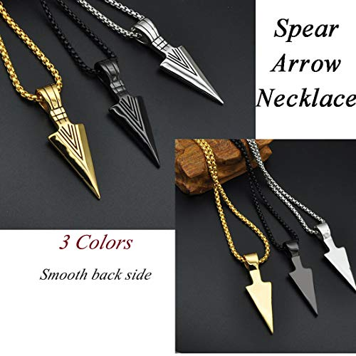 U7 Men Rock Hip Hop Jewelry Stainless Steel Cool Spear Point Arrowhead Pendant Necklace, with Text Engrave Service