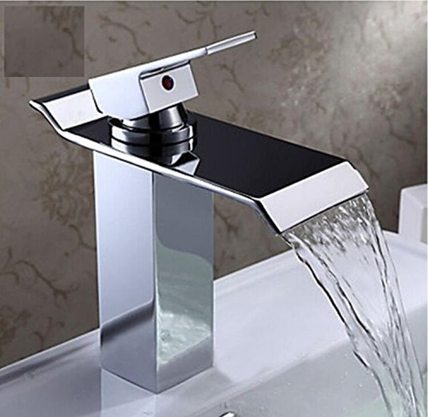 Aawang New Brass Square Chrome Finish Waterfall Tall Countertop Basin Bathroom Sink Faucet Mixer Tap Single Handle