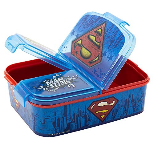 Superman DC Kinder Brotdose, Lunchbox, Sandwichbox, Bentodose, Eiskönigin 2 Anna Elsa Frozen PJ Masks, Spiderman, Avengers, Mickey, Paw Patrol, BPA frei, Kindergarten, Geburtstag (Superman)