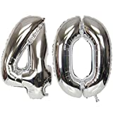 ZEEREE 40 años Globos numéricos, Fiesta de cumpleaños de cumpleaños con Globos de 40 Pulgadas (Plata)