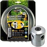 Black Tornado Tools Cabezal Desbrozadora Universal Profesional de Aluminio - 15 m de Hilo Ultraresistente - Giro antihorario