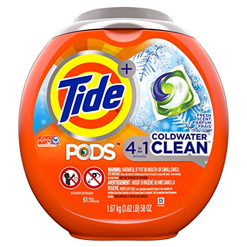 Tide Pods Coldwater Clean Liquid Laundry Detergent Pacs, Fresh Scent, Fresh Scent, 61 Count