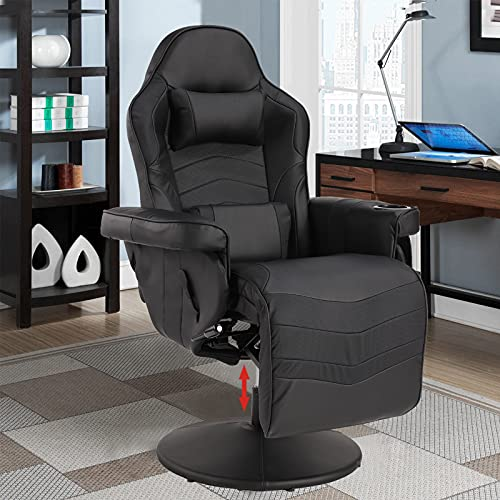 VUYUYU Massage Video Gaming Recliner Chair - Ergonomic Backrest & Seat Height Adjustment Swivel Recliner - PU Leather High Back Computer Office Chair with Cupholder, Headrest, Lumbar Support, Footrest