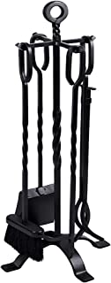 Best Amagabeli 5 Pieces Fireplace Tools Set Indoor Wrought Iron Fire Set Fire Place Pit Large Poker Wood Stove Log Firewood Tongs Holder Tools Kit Sets with Handles Modern Black Outdoor Accessories Kit Review