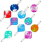 Mini Bubble Fidget Sensory Toys,Fidget Simple Toy,Stress Relief Hand Toys Keychain Toy for Adults and Kids, All Ages (10pcs, tie dye Ten Colors)