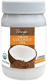 Tresomega Nutrition—Organic Extra Virgin Coconut Oil—A Superfood 100% Cold-Pressed For Cooking, Baking, Health and Beauty—15 oz. Jar