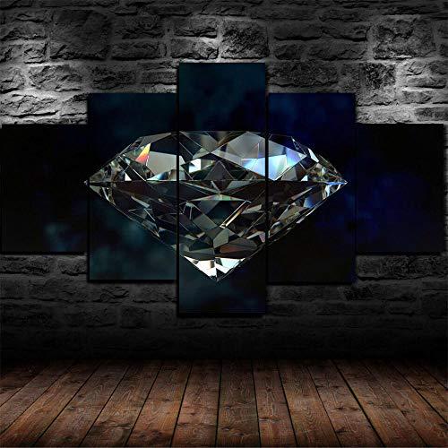 SGDJ Impresión de Lienzo de Pared Arte Diamante más Grande del Mundo 5 Piezas Pinturas Giclée de Moderna Estirada y Enmarcado Arte Cuadros estirados y enmarcados