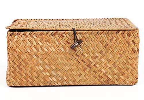 Yesland Handwoven Seagrass Rattan Storage Basket - 11.5'' x 7.5'' x 5'' - Brown Rectangular Makeup Organizer / Container with Lid, Perfect for Decoration, Picnic, Groceries and Toy Storage