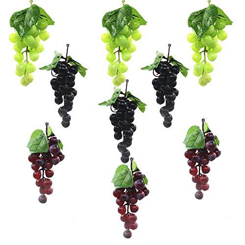 Lsydgn Uvas Falsas Decorativas Uvas Artificiales realistas Uvas de plástico Falsas Decoración de UVA Artificial Fruta...