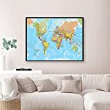WSF-MAP, 1 stück 59 * 42 cm Die Welt Politische Karte Leinwand Malerei Wandkunst Poster Büro Klassenzimmer Home Decoration Schulbedarf