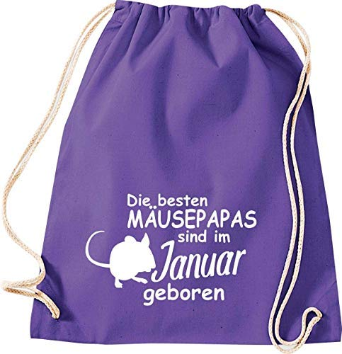 Shirtstown Bolsa de Deporte, los Mejores papás de ratón Nacen en enero, ratón de Color para Mascotas, Gimnasio, Bolsa de Deporte, Color Negro, tamaño 37 cm x 46 cm