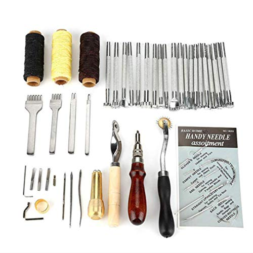 CHSEEO Artesanía del Cuero, 48 Piezas Juegos y Kits de Costura Kits de Repujado de Cuero Herramientas de Coser Perforadora de Cuero para Manualidades DIY Cuero Artesanía #5