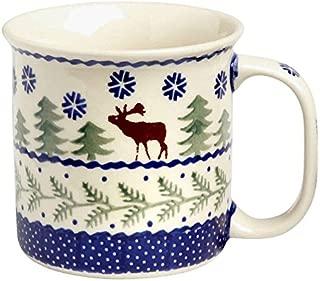 Polish Pottery Christmas Tree Reindeer Moose Mug, 12 Oz