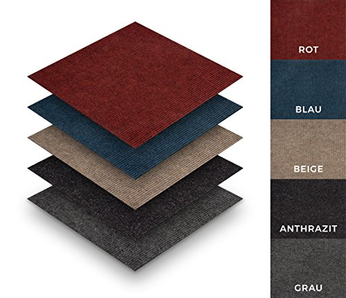 Grobcord-Teppichfliesen selbstklebend Sparpaket (20 Fliesen = 5 m²), Farbe: Blau, Variante: 50 x 50 cm