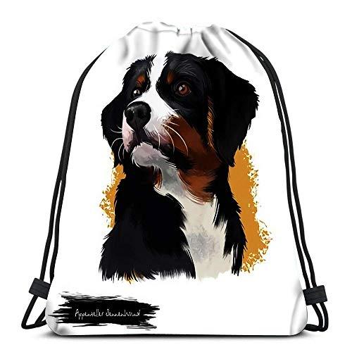 Lsjuee Rucksack Kordelzug Appenzeller Sennenhund Hund Digital Art Weiß Mittelgroße Rasse von Regio