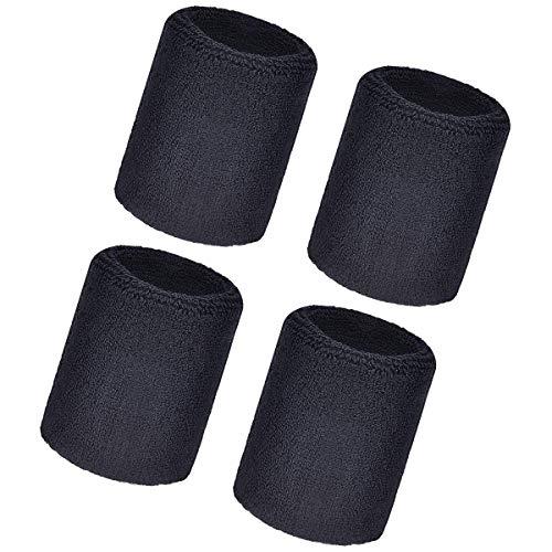 Pulsera deportiva, 4 paquetes de bandas elásticas de algodón atlético para fútbol, baloncesto, color negro