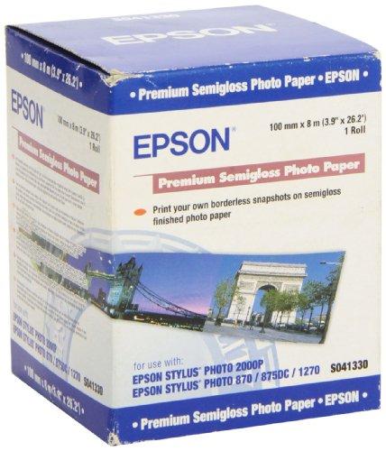 Epson Premium Semigloss Photo Papier, 251 g/m², 100mm x 8 m, C13S041330, 1 Rolle Fotopapier für Epson Inkjet Drucker