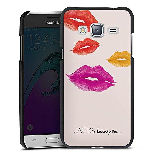 DeinDesign Cover kompatibel mit Samsung Galaxy J3 Duos 2016 Lederhülle schwarz Leder Hülle Leder Handyhülle M& Kiss Bisou