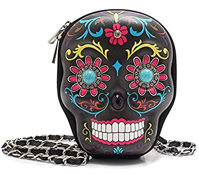 Cowgirl Trendy Day of The Dead Sugar Skull Art Purse Hipster Cross Body Messenger Shoulder Bag Black