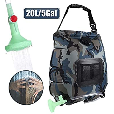 Camping Shower Bag,5 Gallons/20L Solar Shower Bag with Removable Hose and On-Off Switchable Shower Head,Portable Outdoor Bathing Equipment for Camping Outdoor Traveling Hiking Beach Swimming