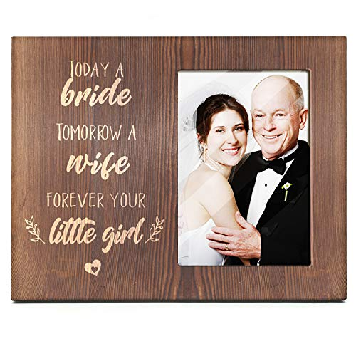 Ku-dayi Mother Father of The Bride Gift, Today a Bride, Tomorrow a Wife, Forever Your Little Girl, Bride Mom and Dad Picture Photo Frame