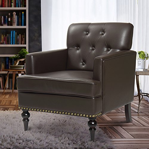 Finnkarelia Accent Chair for Living Room Mid Century Arm Club Chair with Armrest and Solid Wood Leg, Leather Brown Single