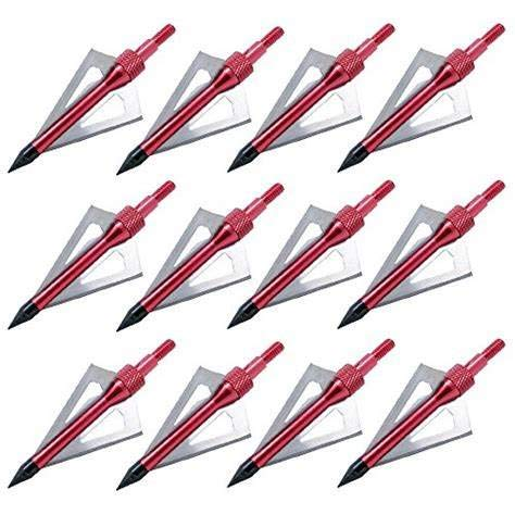 Sinbadteck Hunting Broadheads, 12pcs 3 Blades Archery Broadheads 100 Grain Screw-in Arrow Heads Arrow Tips Compatible with Crossbow and Compound Bow (Red)