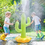 TriMagic Inflatable Sprinkler Toys for Kids, Outdoor Spray Toy for Kids Backyard Water Play, Fun Water Activities for Toddlers Ages 3 4 5 6 Year Old, Cactus Spinning Sprinklers for Lawn Party