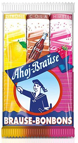 Ahoj-Brause Brause-Bonbon-Stangen – BrauseBonbons verpackt als Stange – 3 verschiedene Geschmacksrichtungen: Zitrone, Cola und Himbeere - 1er Pack (1 x 69 g)