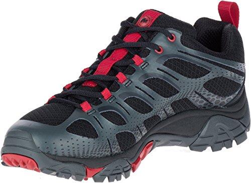 Merrell Men's Moab Edge Hiking Shoe, Black/Red 9 M US