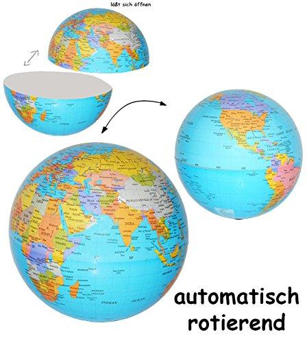 alles-meine.de GmbH rotierender Globus / Weltkugel - mit Batterie betrieben - wirkt schwebend - DEKO ! auch als Sparbüchse - Spardose - z.B. für die Reisekasse Reisen Geld - Reis..