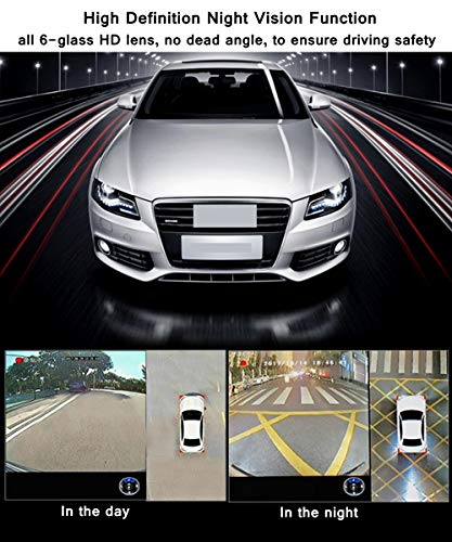 CarThree 360 Degree Bird View System Waterproof Seamless 4 Camera Car DVR Universal All Round View Camera System with Super Hd 1080P Night Vision for All Car