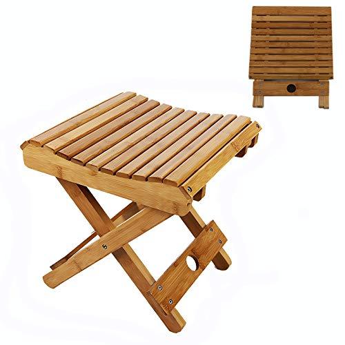 Tabouret pliant en bambou, banc pliable en bambou respectueux de l'environnement avec siège incurvé et conception à lattes pour douche, jambe rasage et repose-pieds, tabouret de camp ( Size : Large )