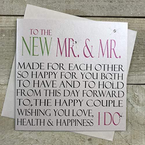 WHITE COTTON CARDS Code N51A to The New Mr & Mr Hand verziert Gay Hochzeit Karte
