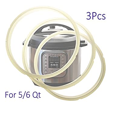 Replacement Sealing Ring for Instant Pot IP 5 Qt / 6 Qt Quart fit IP-DUO60 IP-LUX60 IP-DUO50 IP-LUX50 Smart-60 IP CSG60 and IP-CSG50 Clear Silicone (Pack of 3)