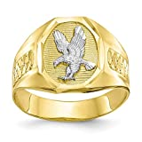 10k Yellow Gold Mens Eagle Band Ring Size 10.00 Man Fine Jewelry For Dad Mens Gifts For Him
