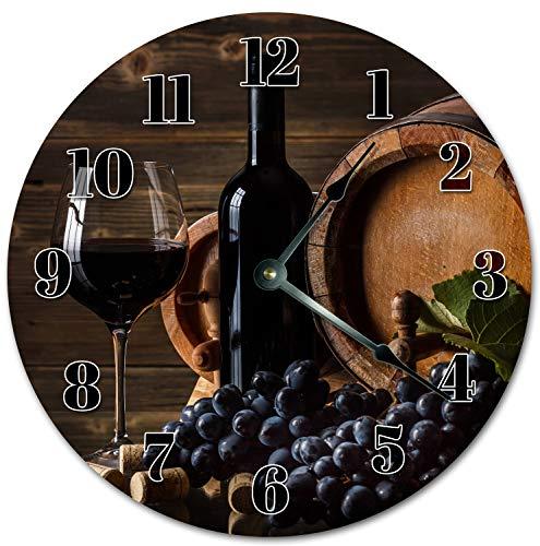 Reloj de pared redondo de 30,5 cm, funciona con pilas, con números árabes, elegante uva y vino, decoración del hogar