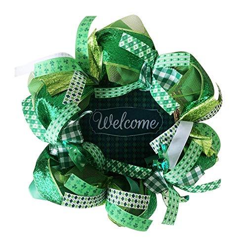 Alecony Welcome Door Wreath, St. Patrick's Day Green Artificial Flower Spring Summer Hanging Wreaths Garlands Ornament for Front Door Window Home Wedding Decoration, Farmhouse Door Wreath Hangers (A)