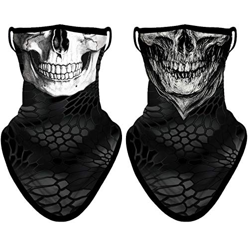 NTBOKW Gaiters Face Mask with Ear Loops Men Women Bandana Face Mask Neck Gaiter 2 Pack (Skull 0108)