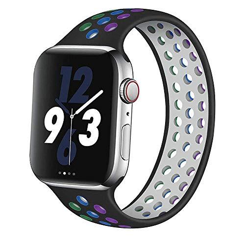 Solo Loop Strap per Apple Watch Band 44 mm 40 mm 38 mm 42 mm Cinturino elastico in silicone traspirante iWatch Series 3 4 5 SE 6 (Rainbow Black, 38 mm o 40 mm/M)